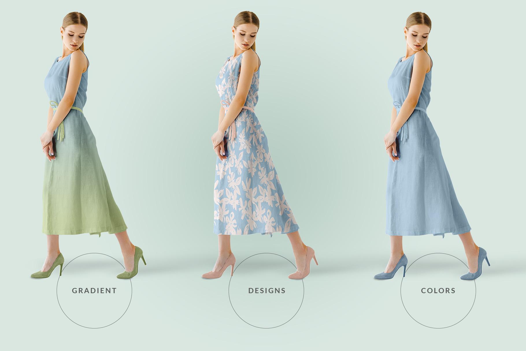 female sleeveless long dress mockup image preview 7