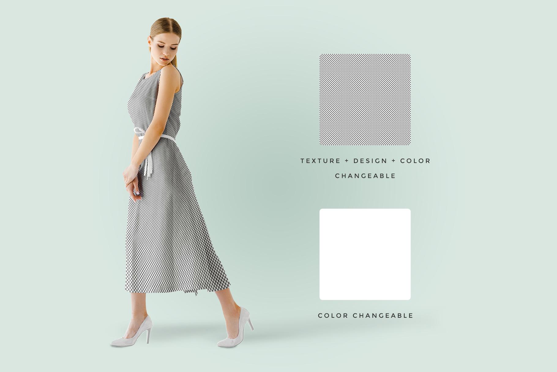 female sleeveless long dress mockup image preview 6