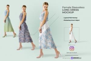 female sleeveless long dress mockup image preview 1