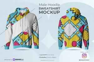 male hoodie sweatshirt mockup image preview 1