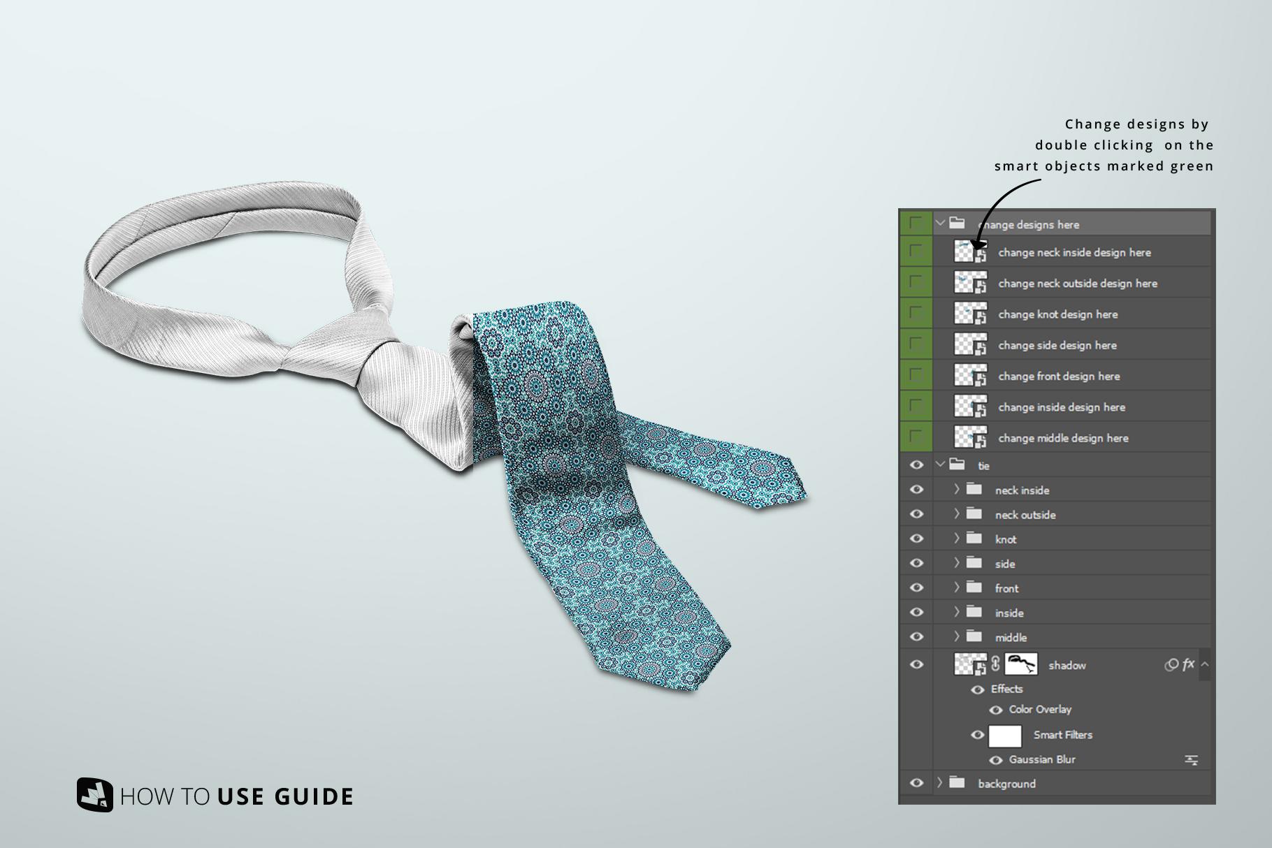 change design guide of the men's formal tie mockup