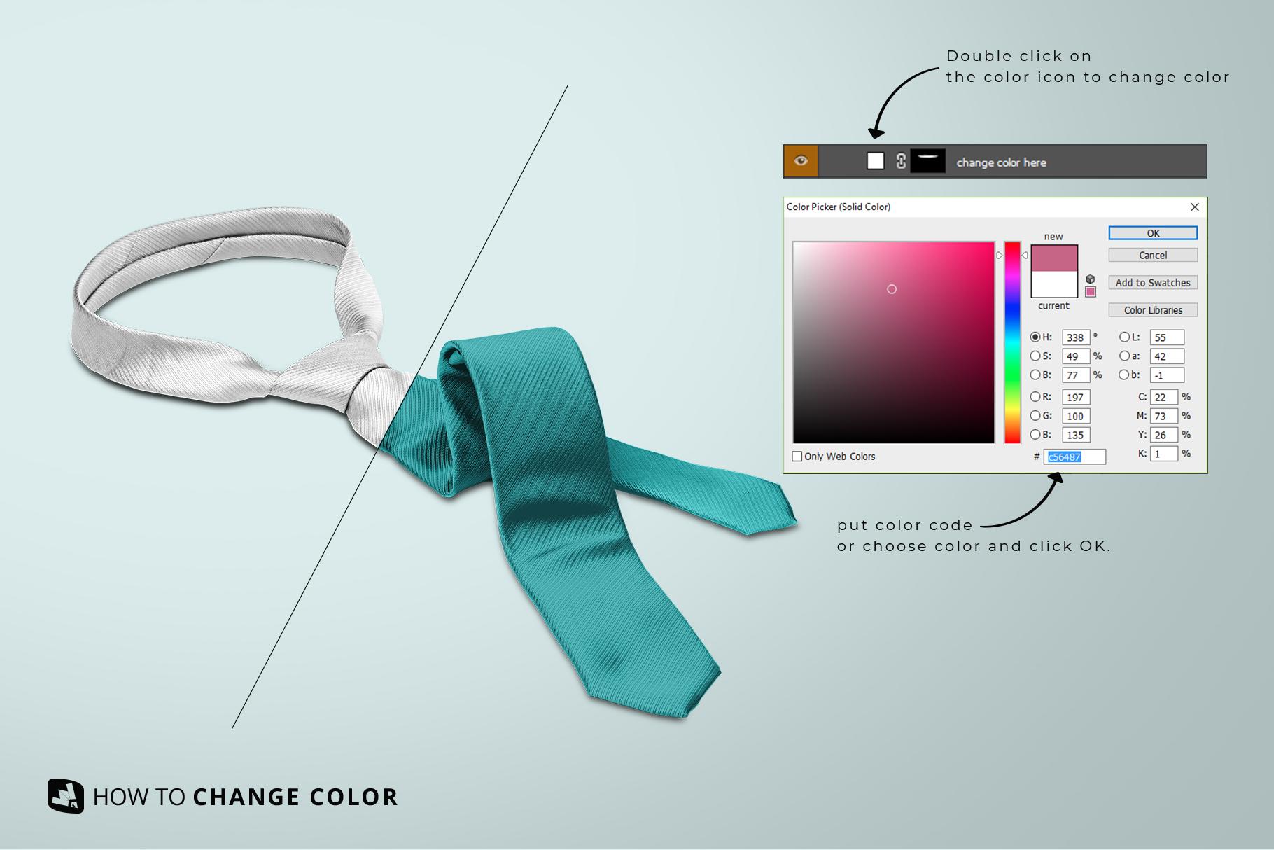 change color guide of the men's formal tie mockup