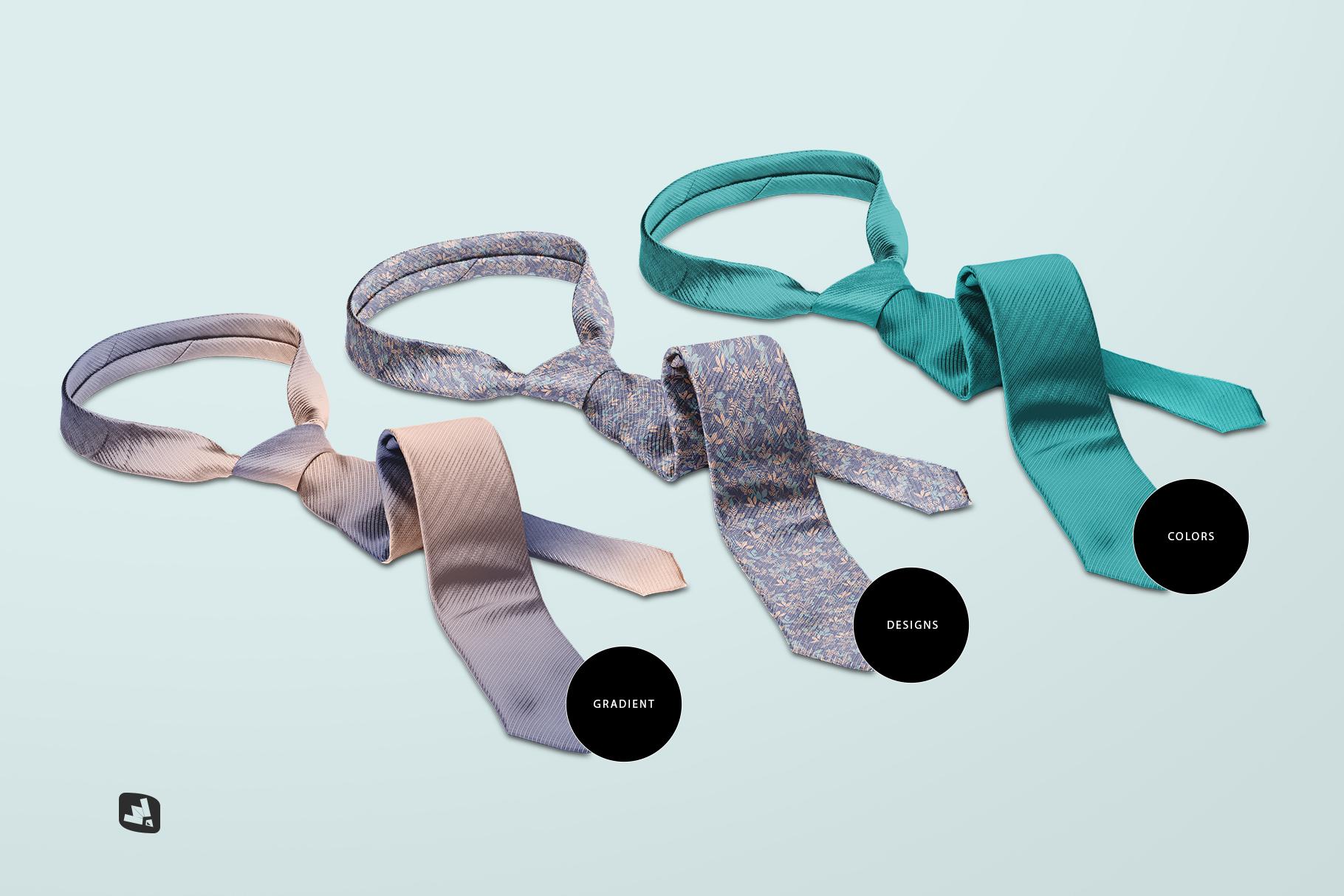 types of the men's formal tie mockup