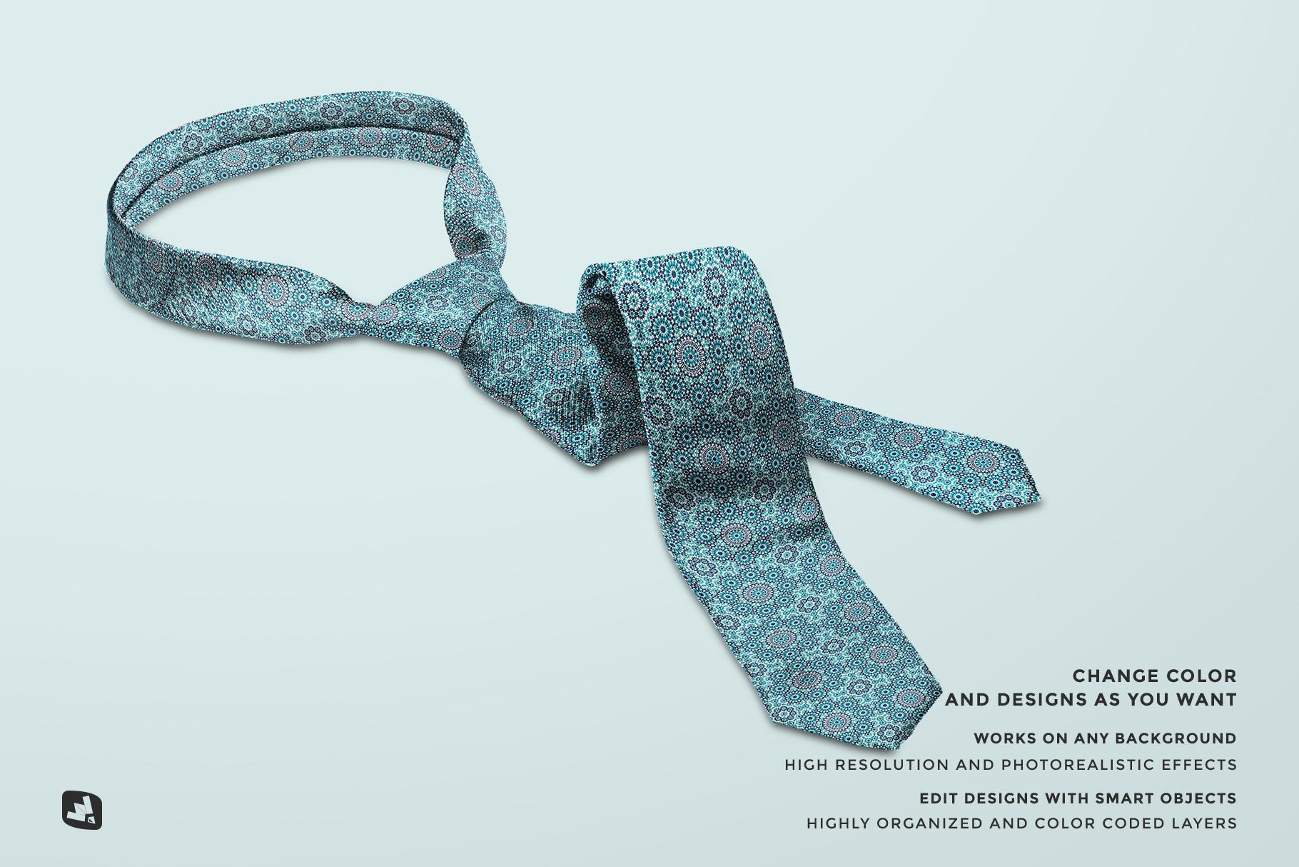 features of the men's formal tie mockup