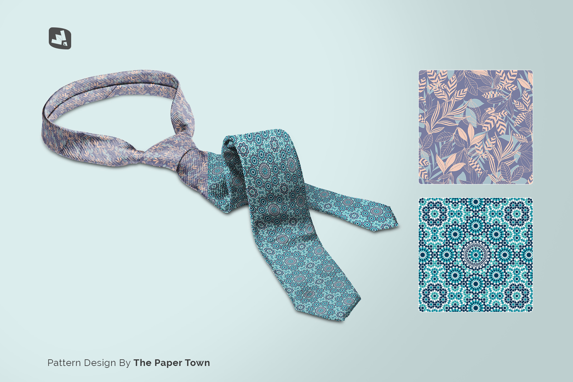 designer's credit of the men's formal tie mockup