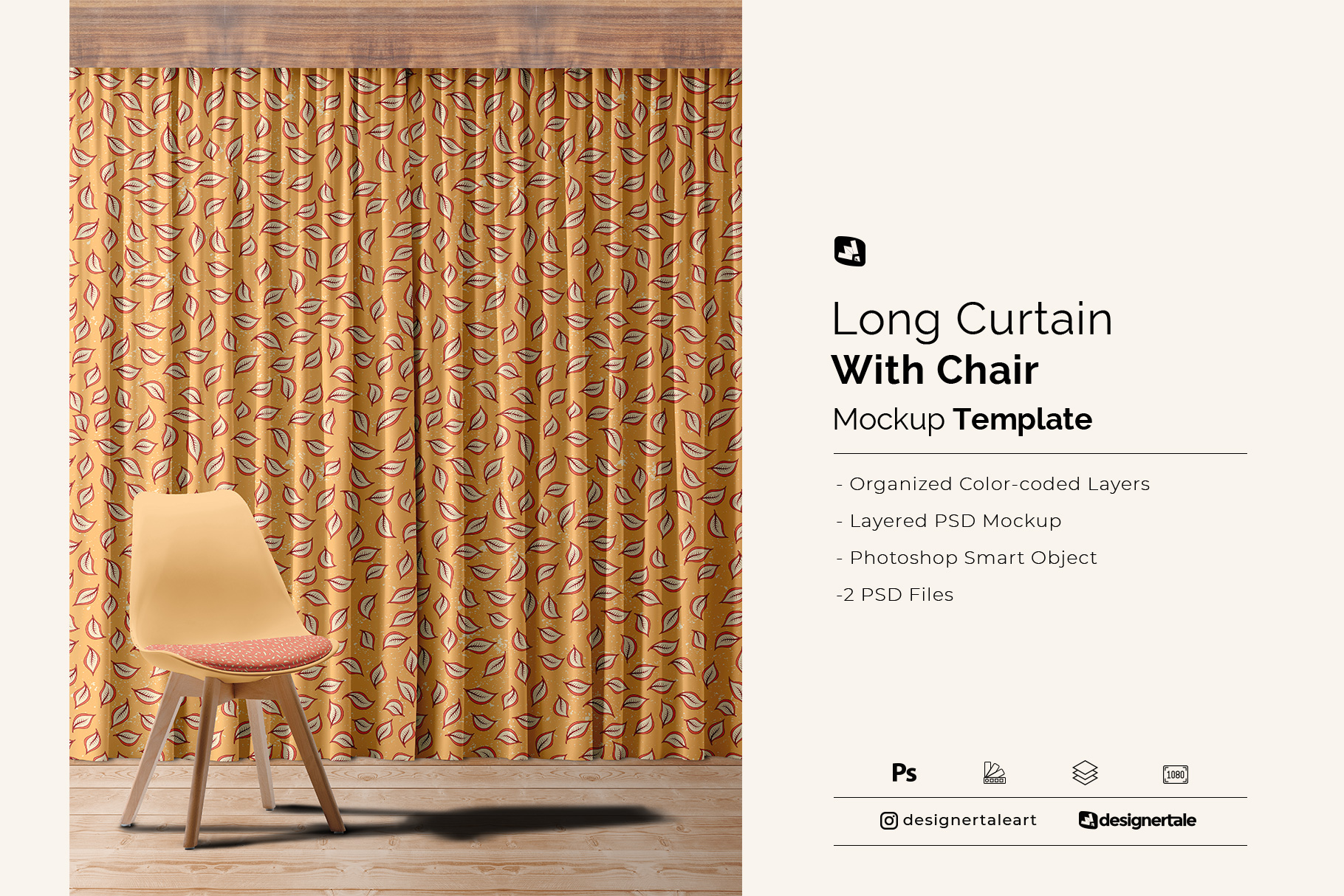 long curtain with chair mockup