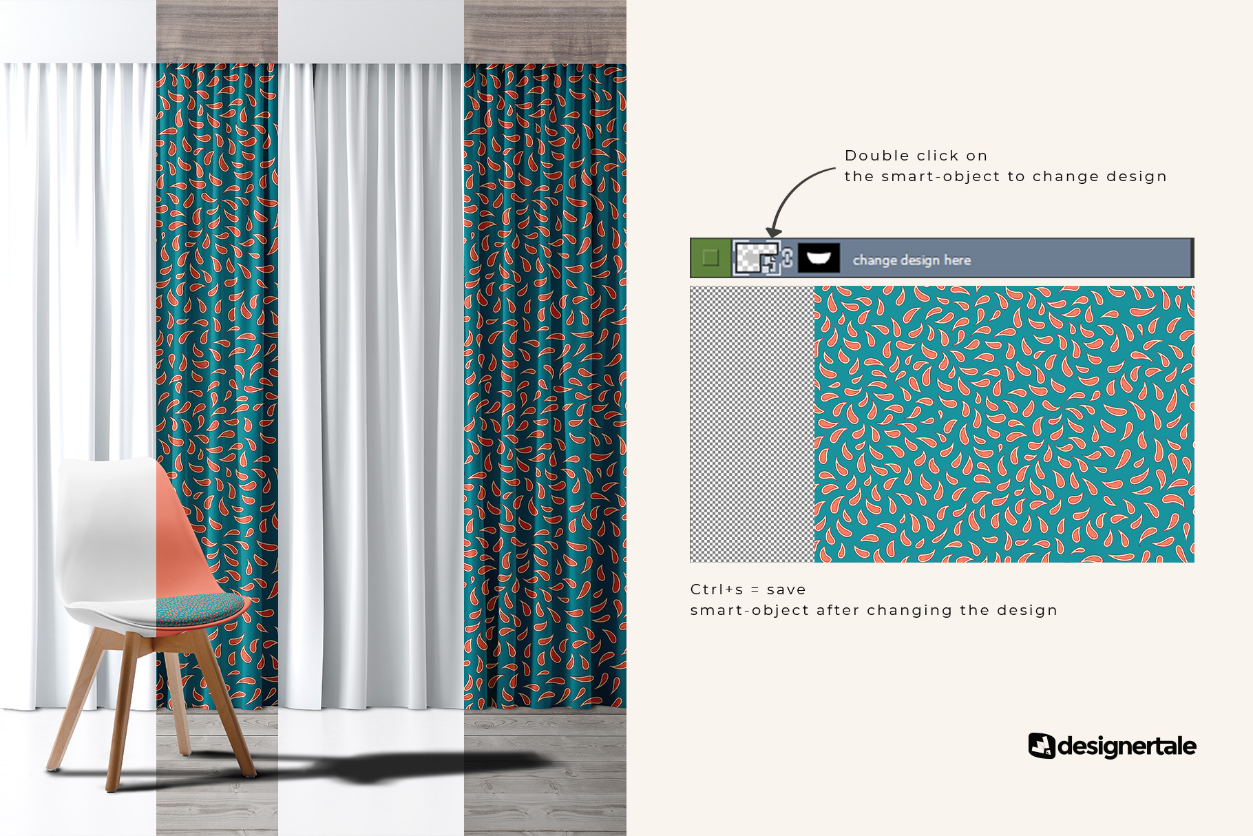 change design of the long curtain with chair mockup
