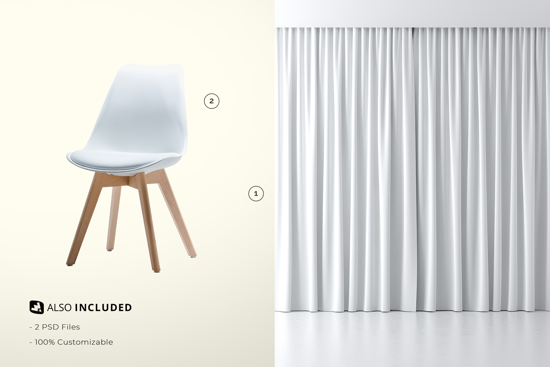 files included in the long curtain with chair mockup