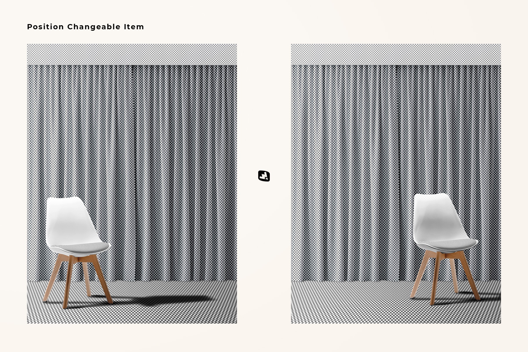 cutomization of the long curtain with chair mockup