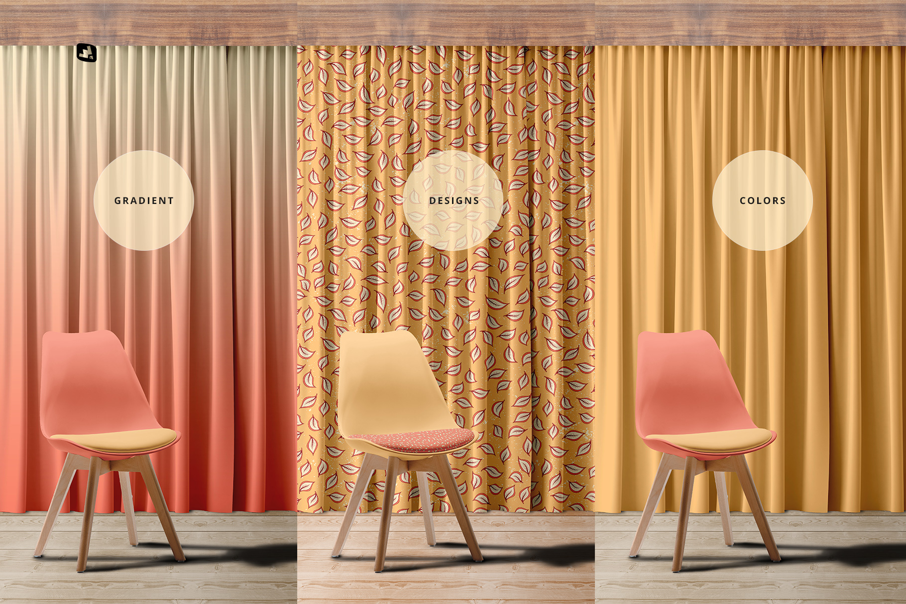 types of the long curtain with chair mockup