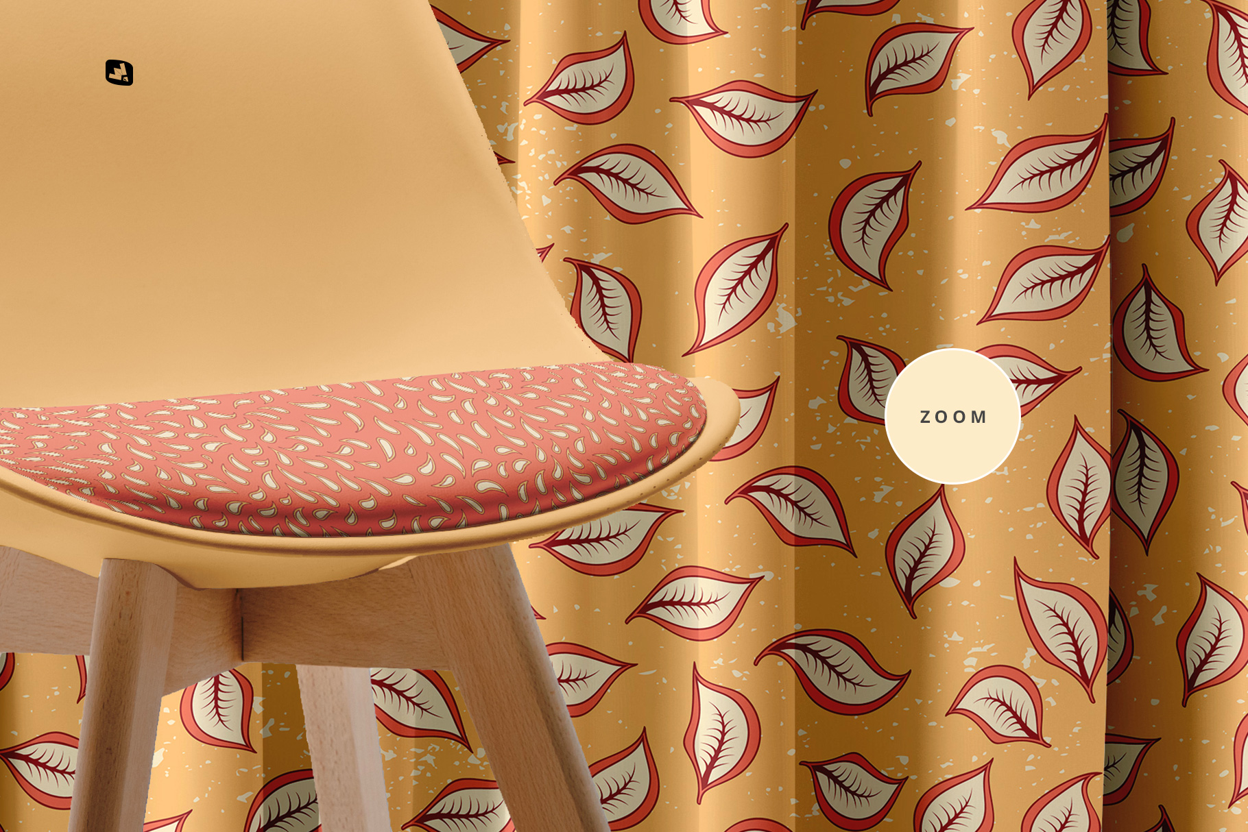 zoomed in image of the long curtain with chair mockup