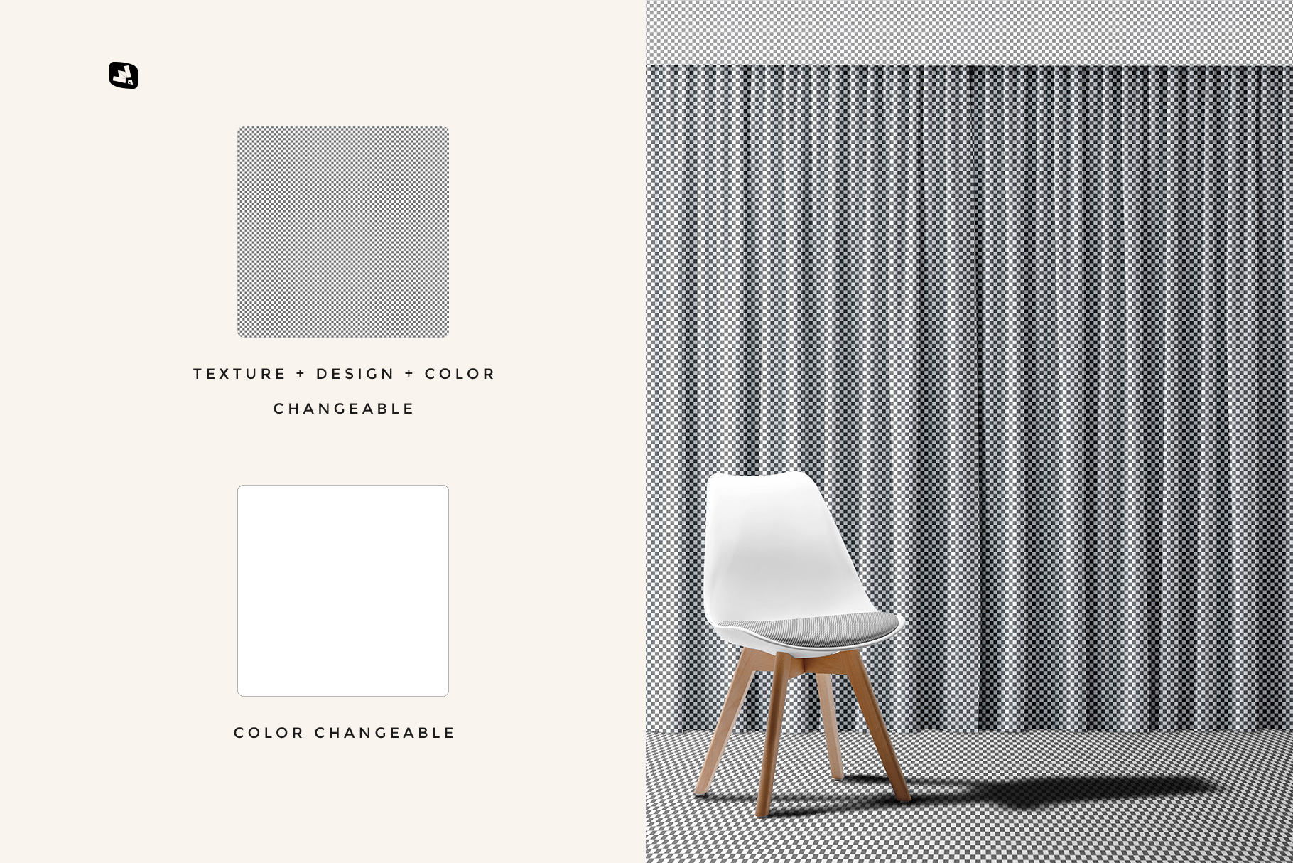 editability of the long curtain with chair mockup