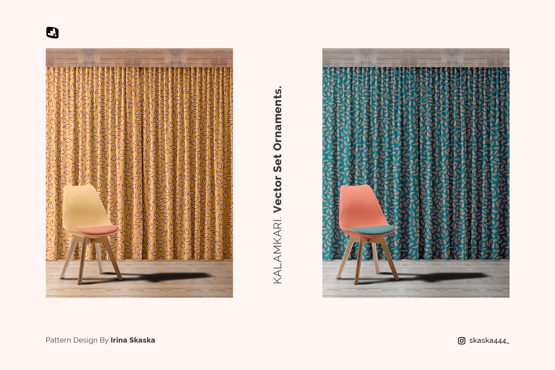 designer's credit of the long curtain with chair mockup