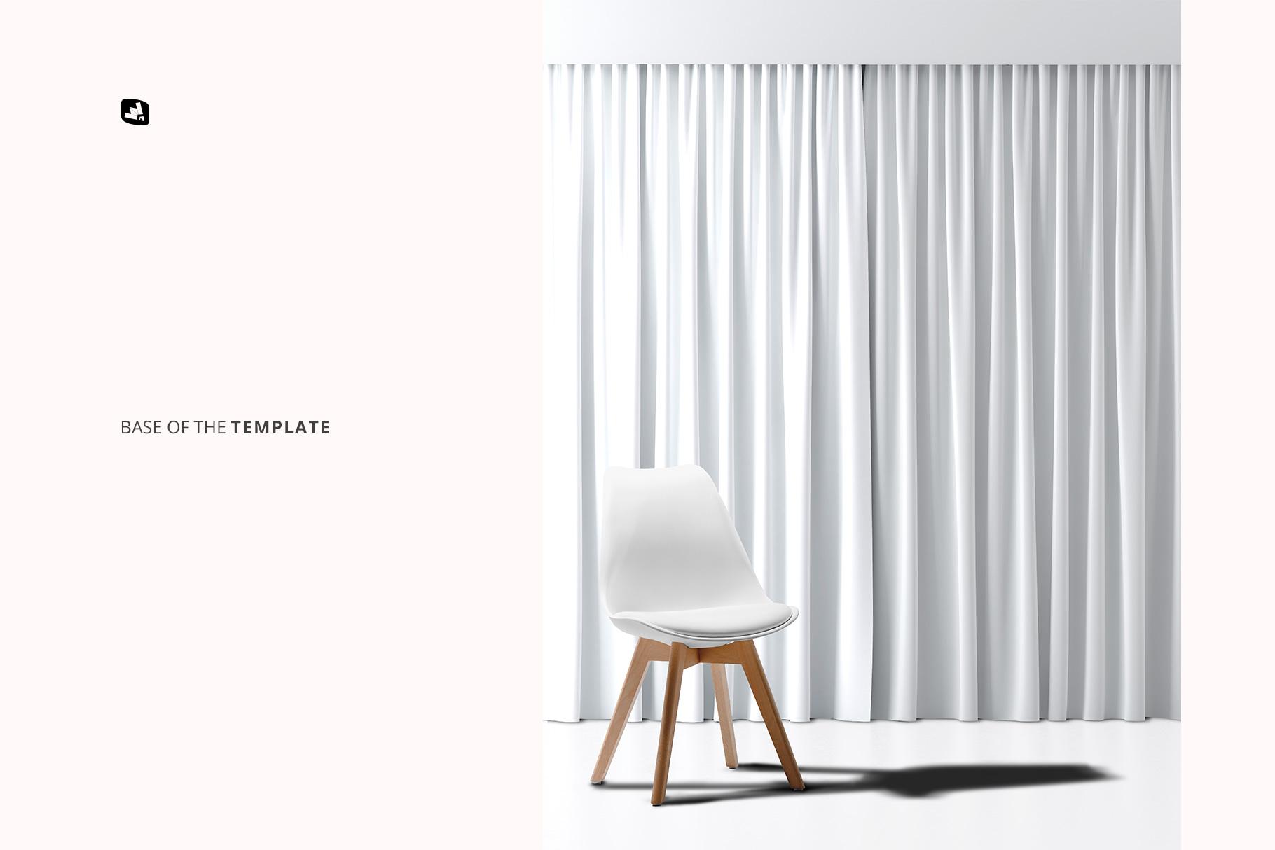 base image of the long curtain with chair mockup