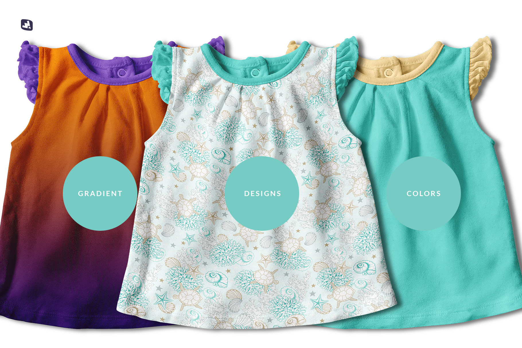 types of the ruffle sleeve baby girl top mockup