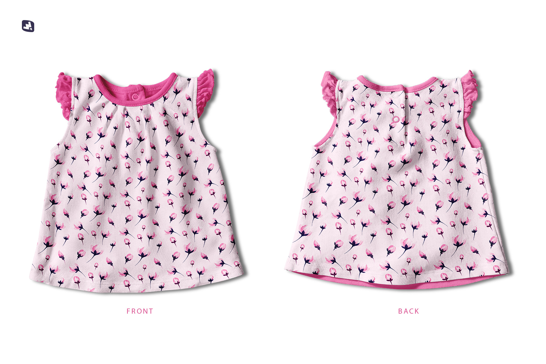 inside the file of the ruffle sleeve baby girl top mockup