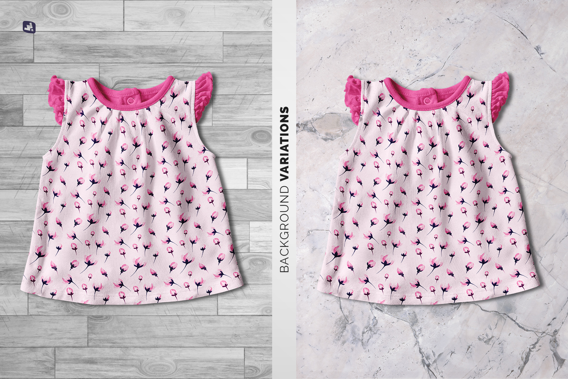background options of the ruffle sleeve baby girl top mockup