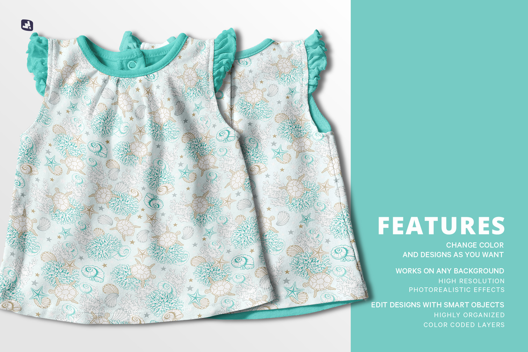features of the ruffle sleeve baby girl top mockup