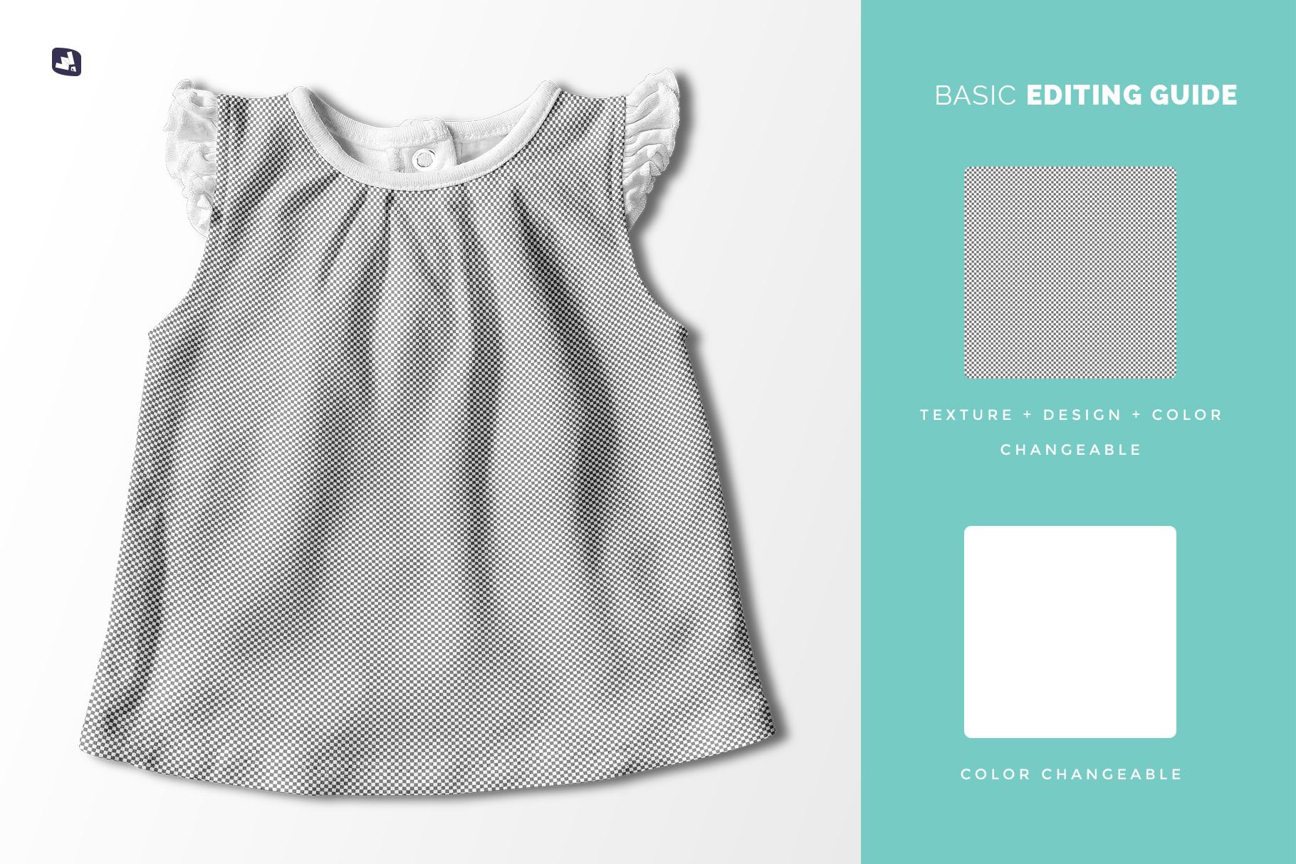 editability of the ruffle sleeve baby girl top mockup