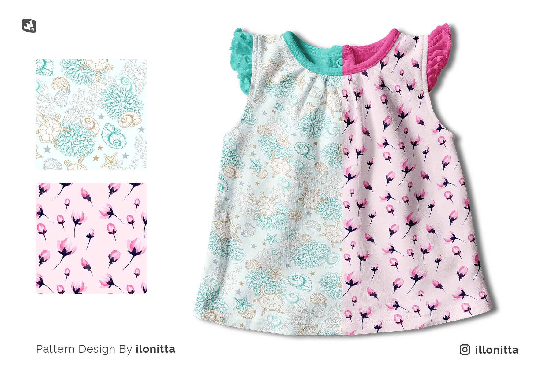designer's credit of the ruffle sleeve baby girl top mockup