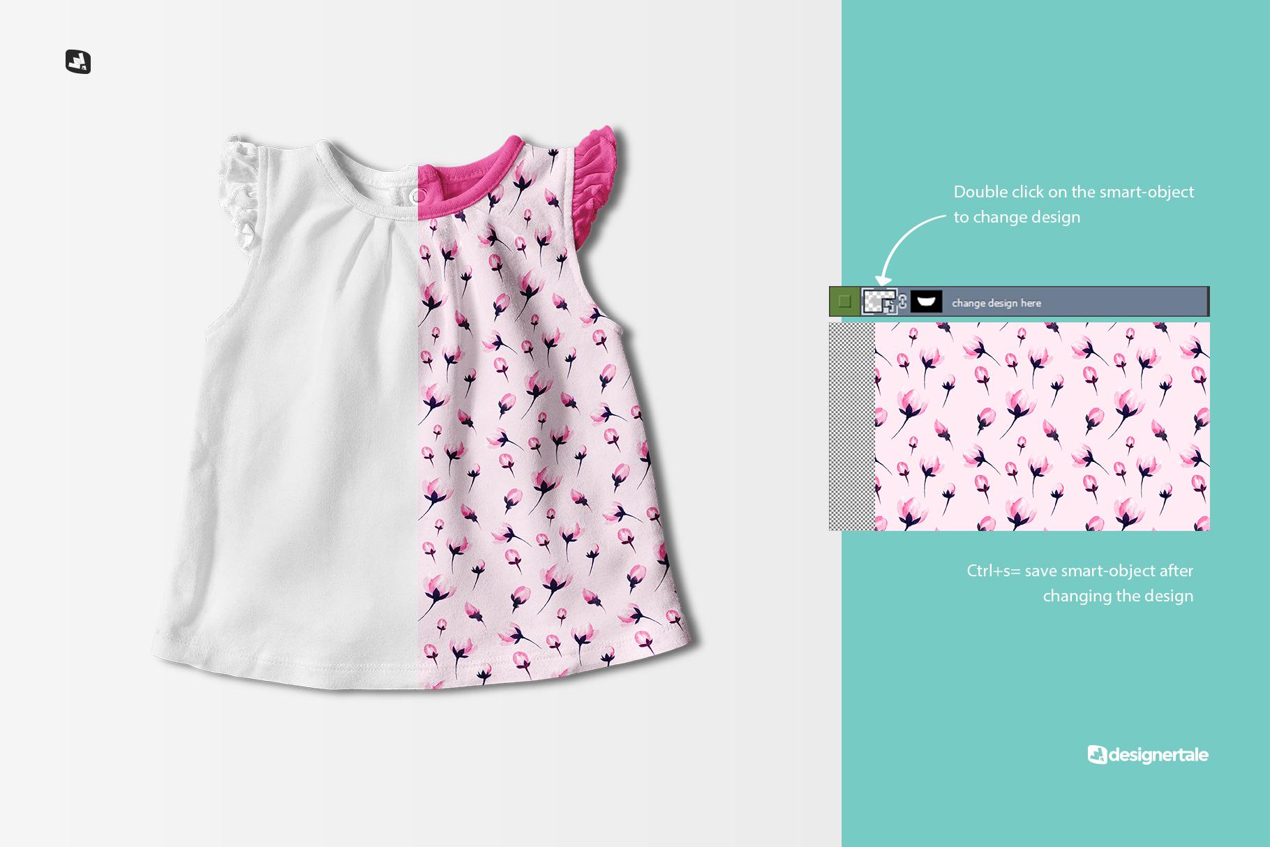 change design of the ruffle sleeve baby girl top mockup
