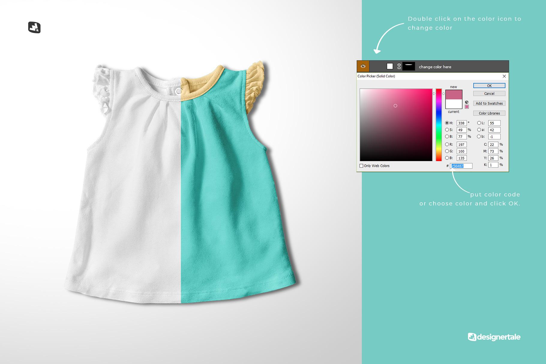 change color of the ruffle sleeve baby girl top mockup