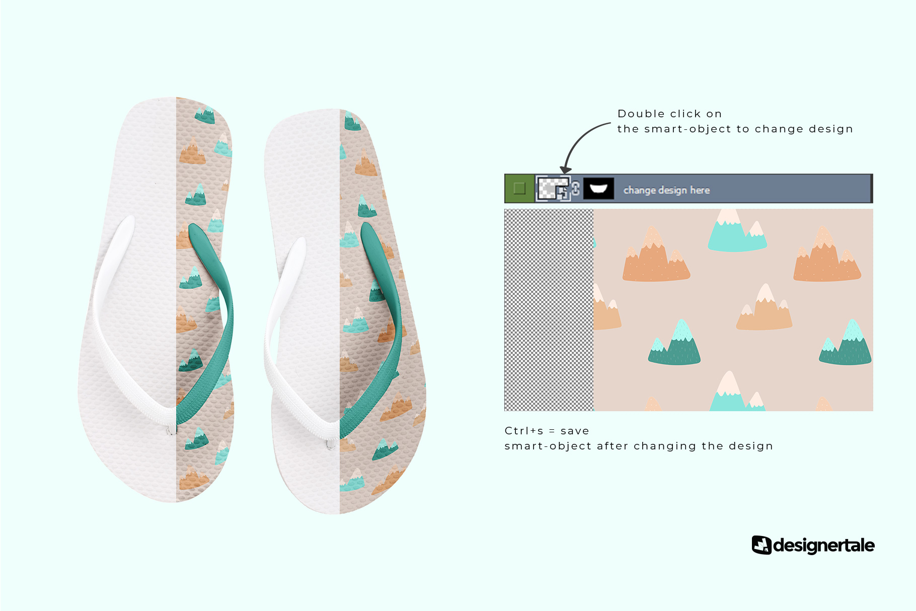change design of the unisex rubber flip flop pair mockup