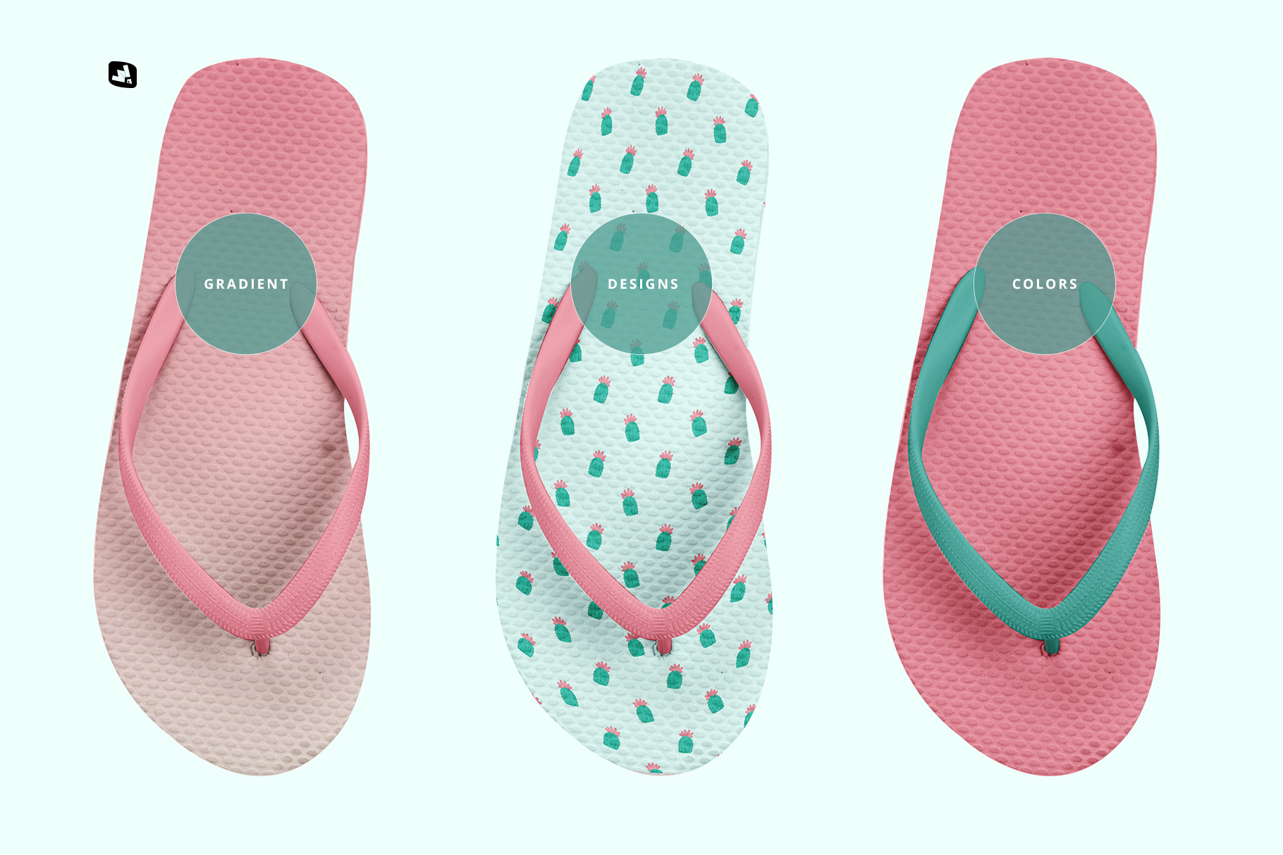 types of the unisex rubber flip flop pair mockup
