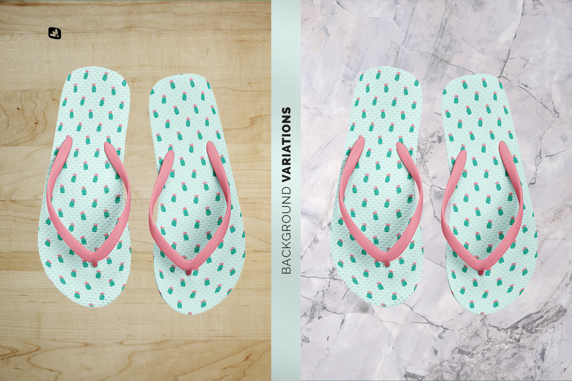 background options of the unisex rubber flip flop pair mockup
