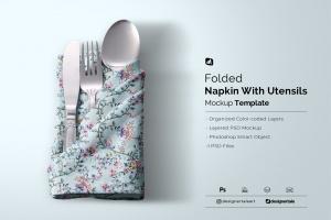 folded napkin with utensils mockup