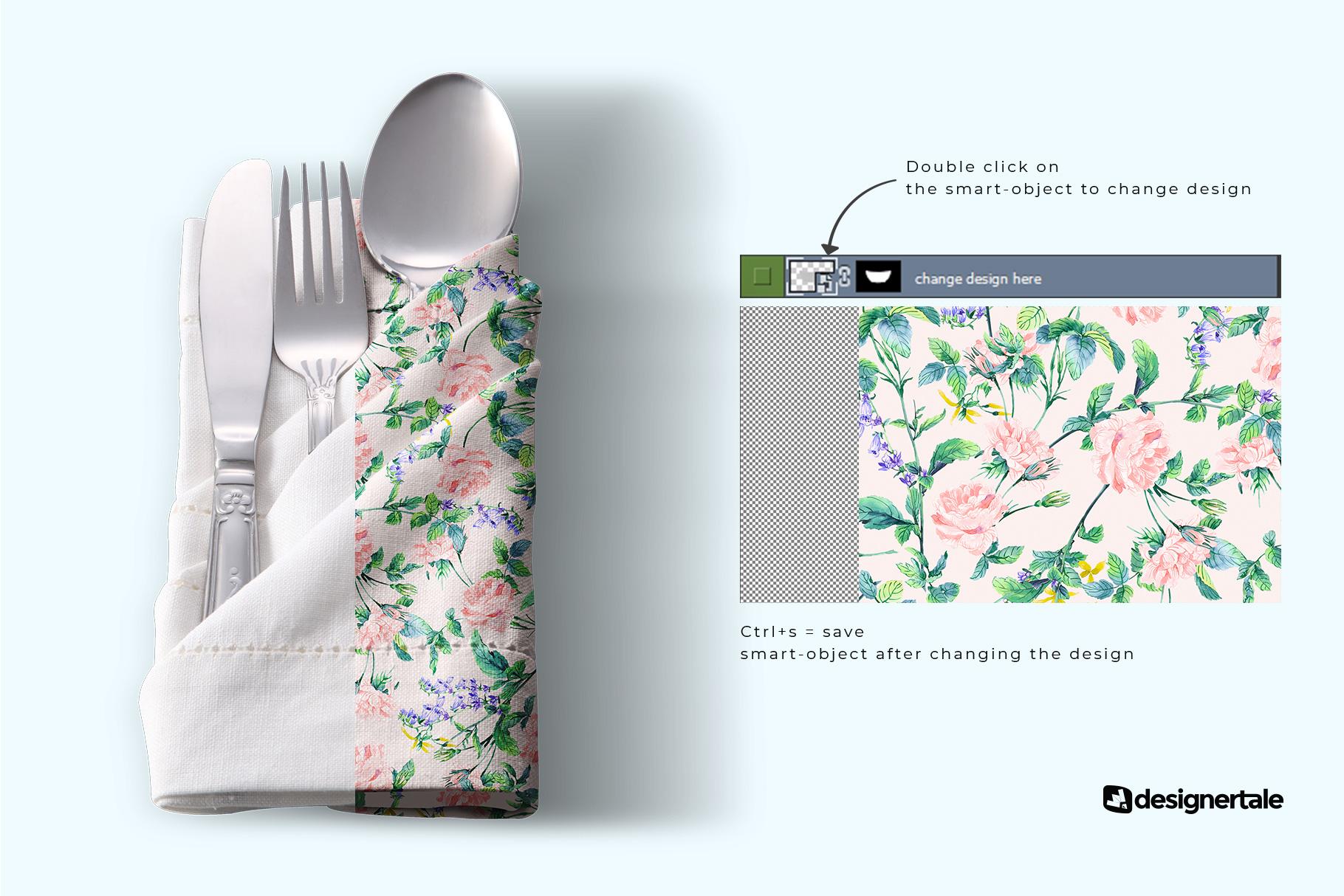 change design of the folded napkin with utensils mockup