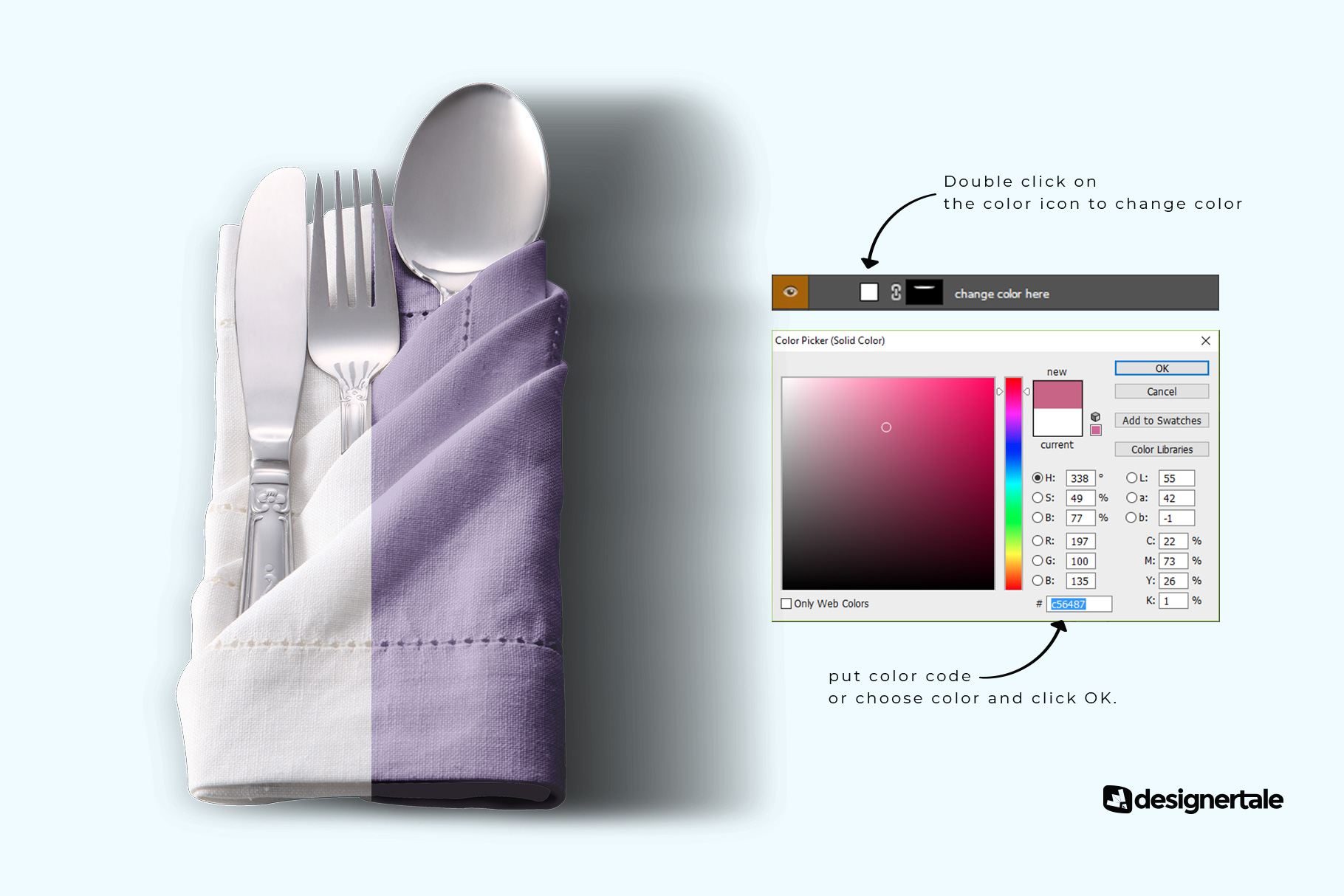 change color of the folded napkin with utensils mockup