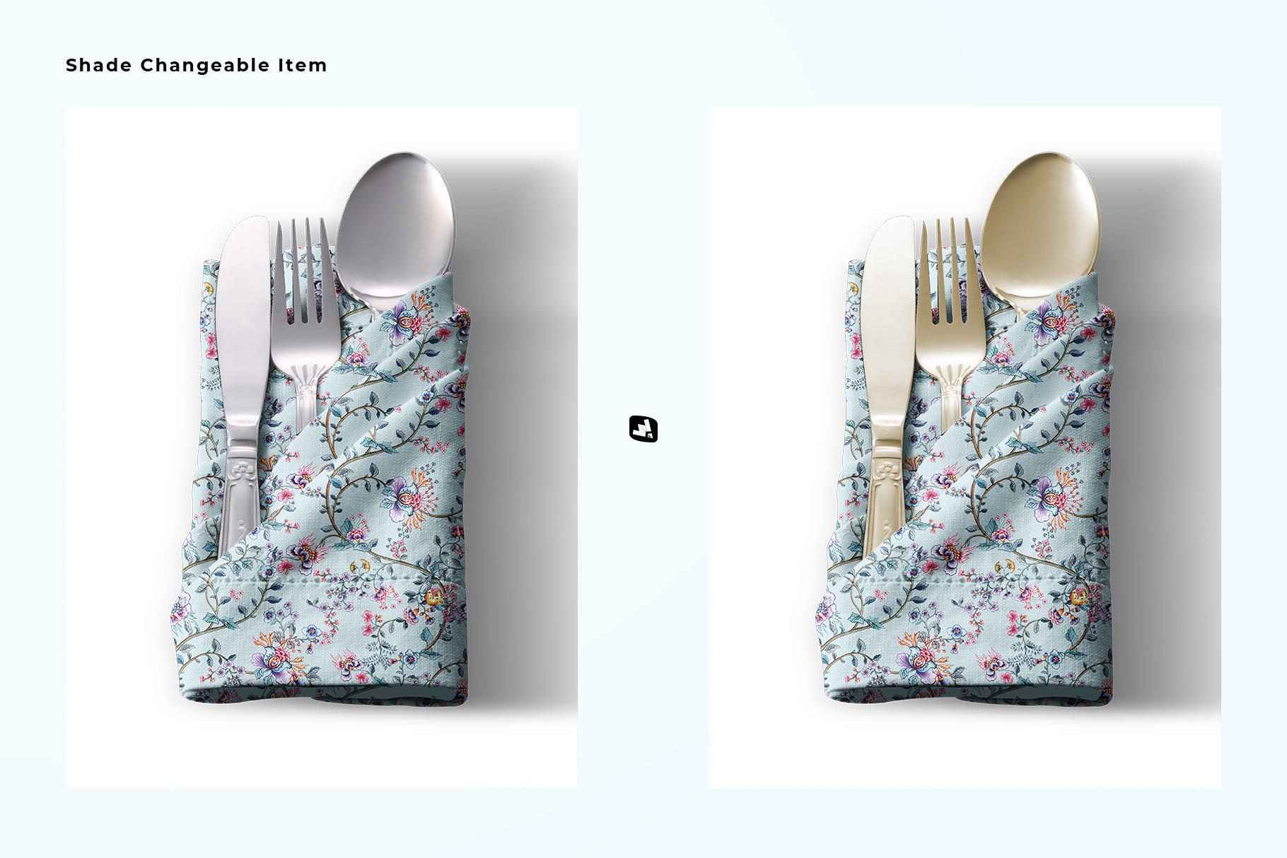 changeable utensils of the folded napkin with utensils mockup