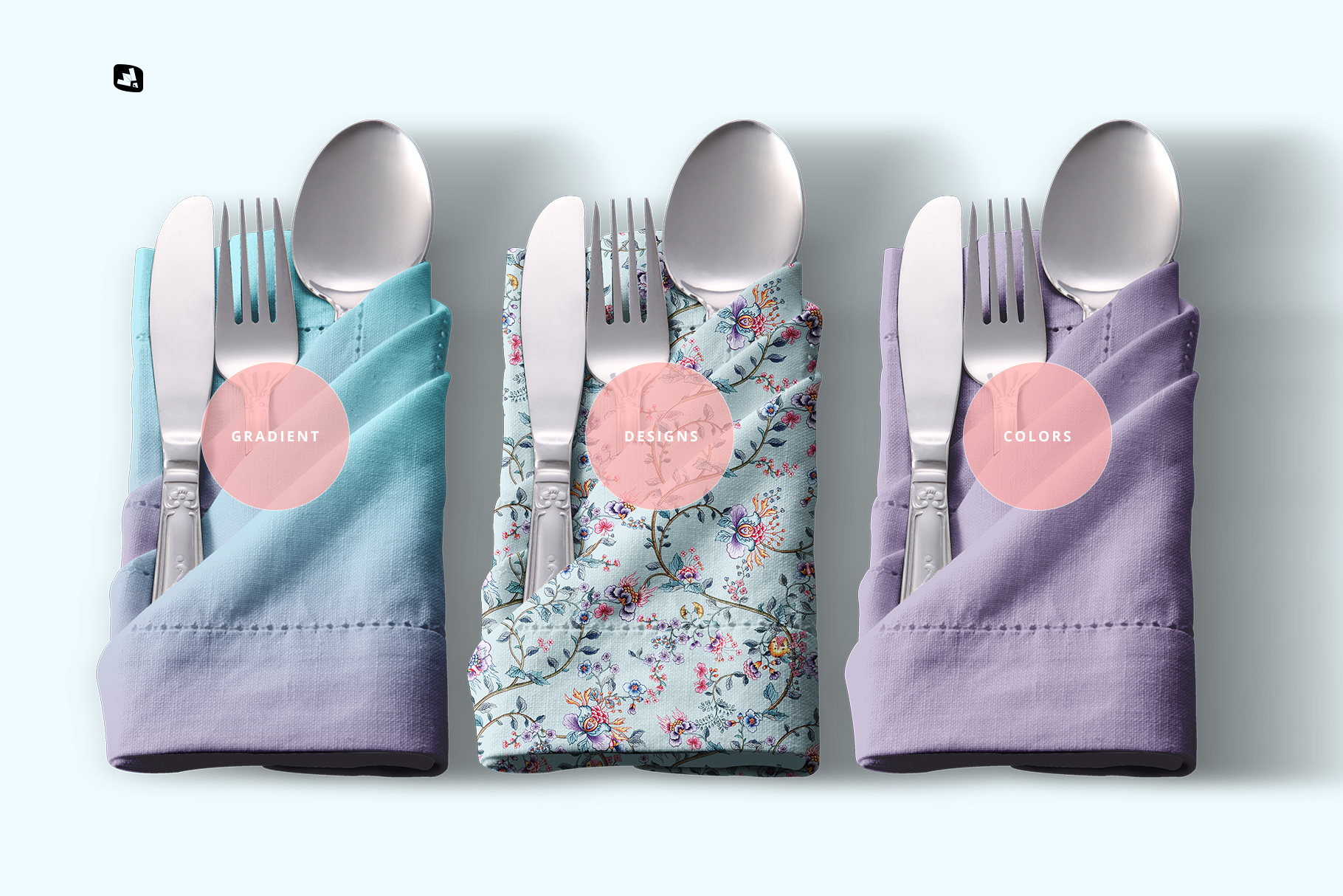 types of the folded napkin with utensils mockup