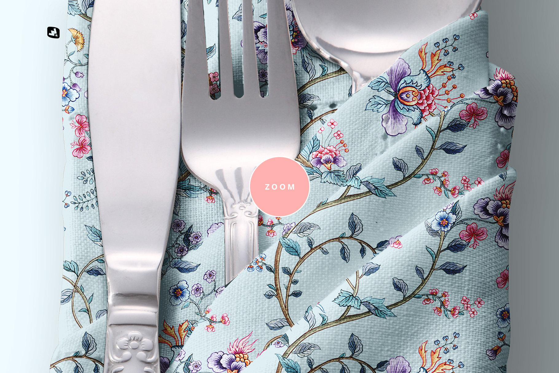 zoomed in image of the folded napkin with utensils mockup