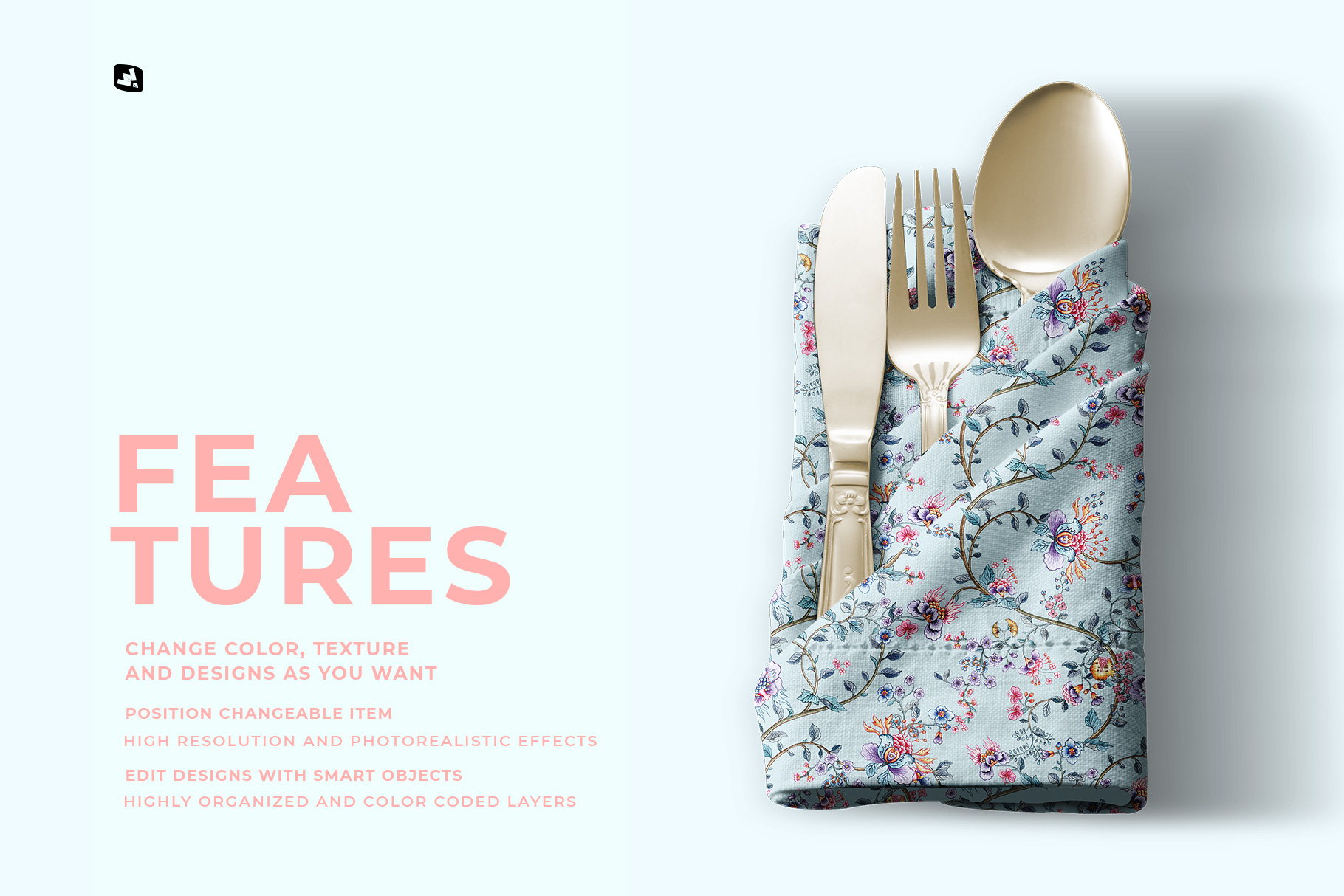 features of the folded napkin with utensils mockup