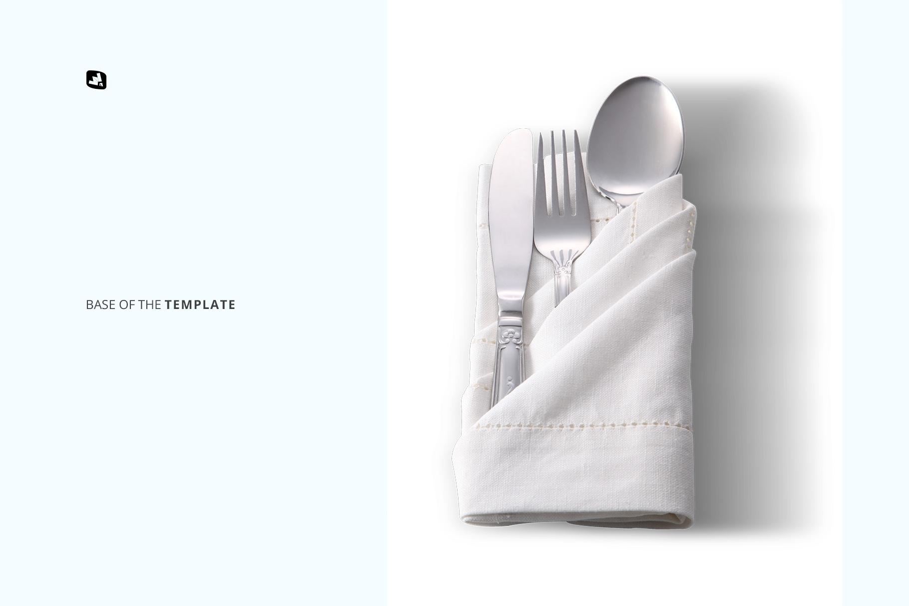 base image of the folded napkin with utensils mockup