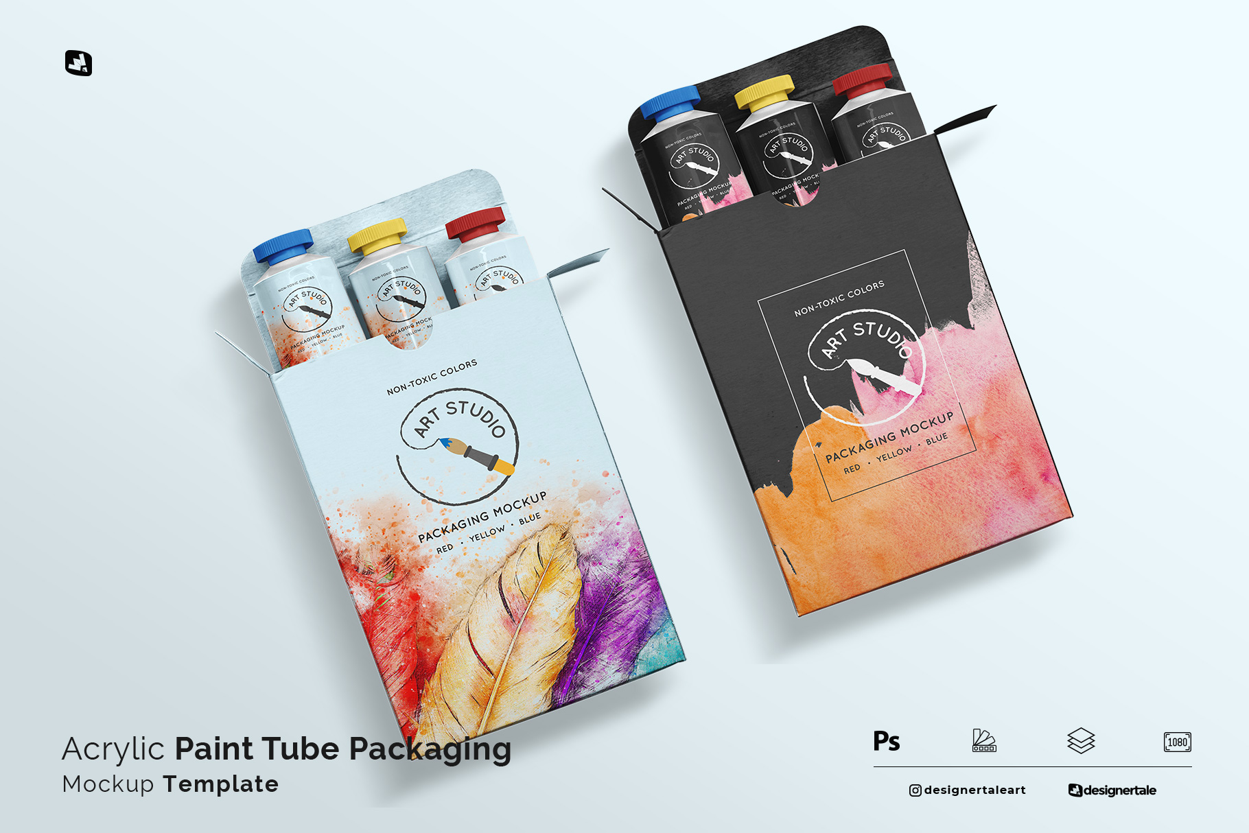 acrylic paint tube packaging mockup