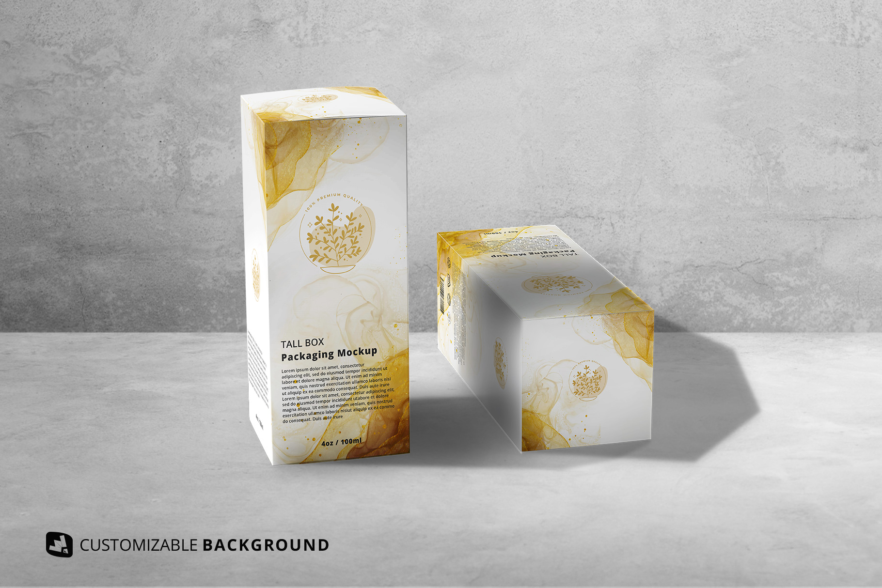 background options of the set of tall box packaging mockup