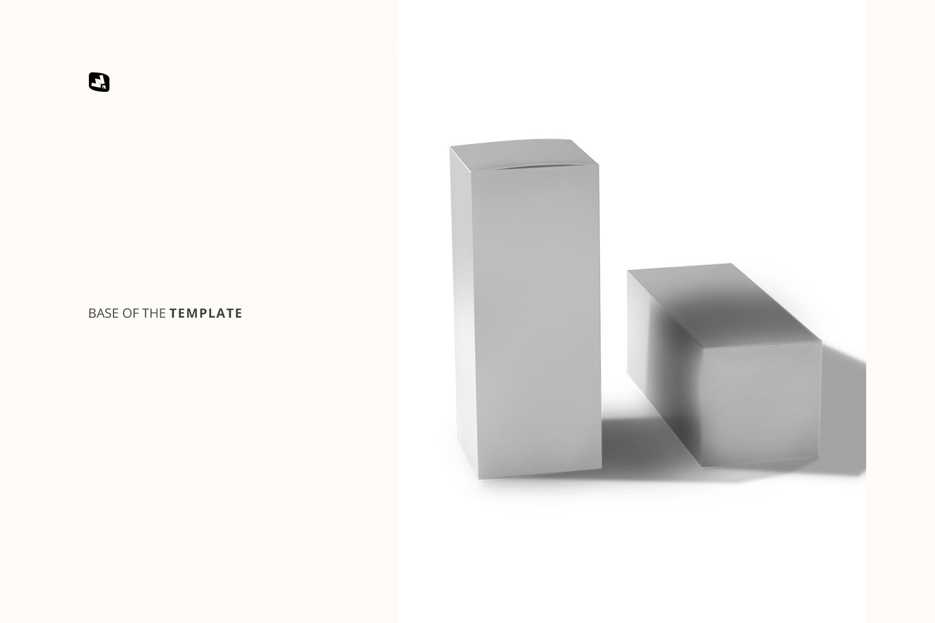 base image of the set of tall box packaging mockup