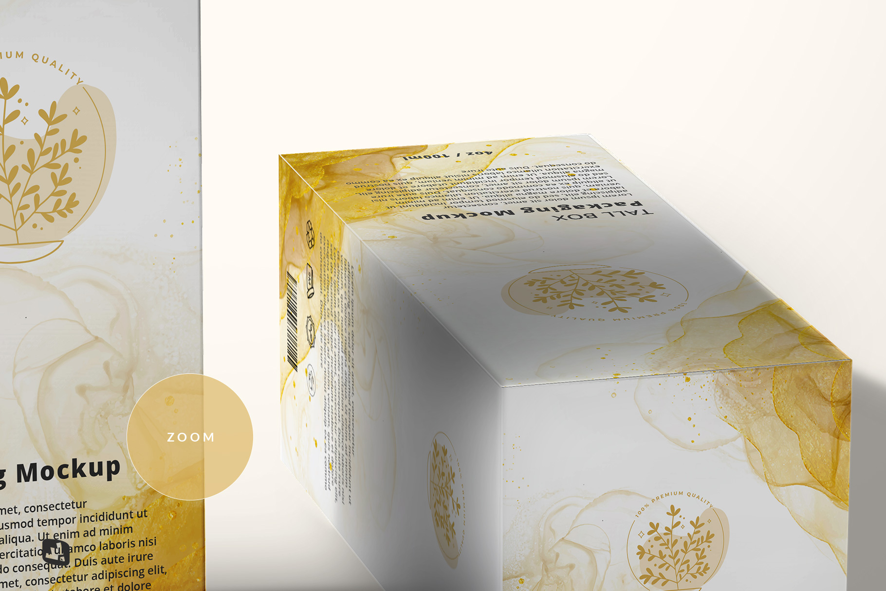 zoomed in image of the set of tall box packaging mockup