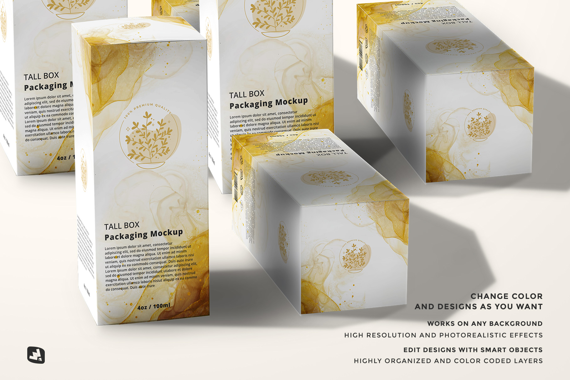 features of the set of tall box packaging mockup
