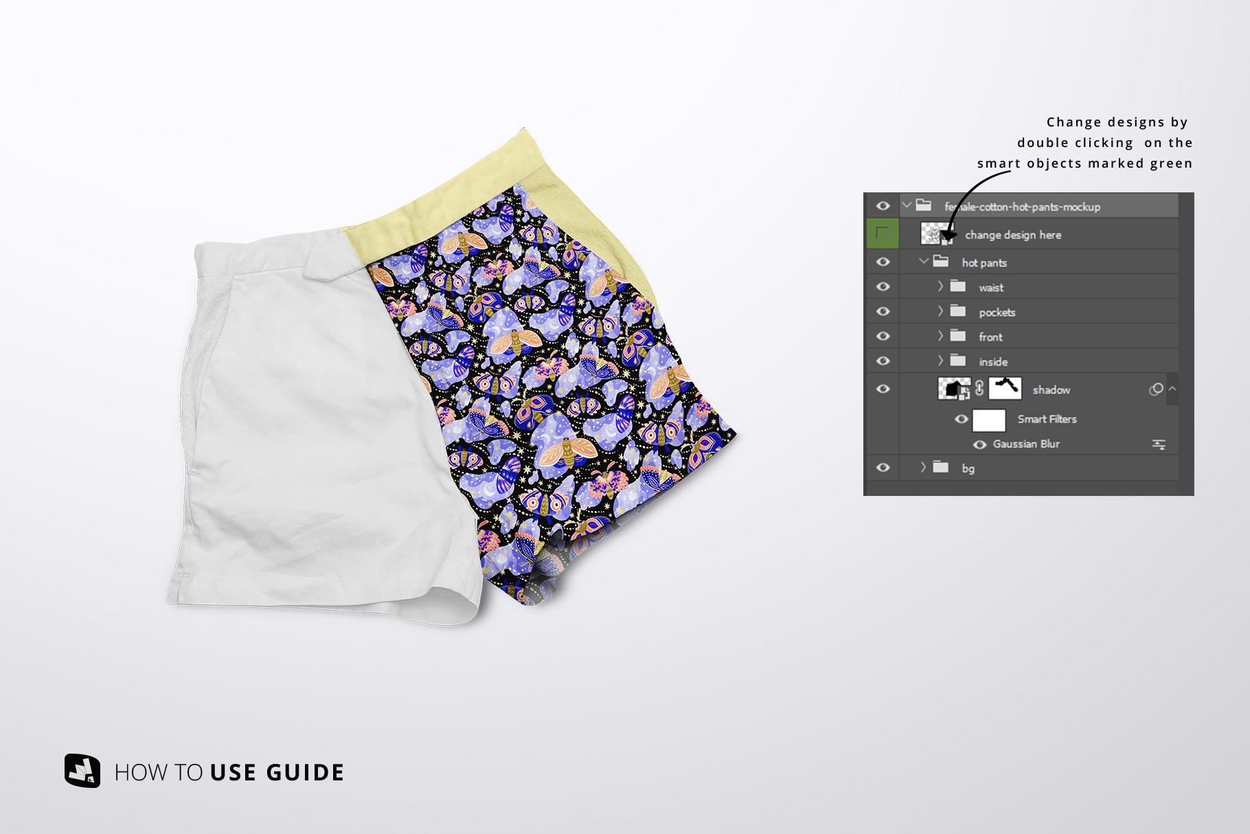 change design of the female cotton hot pants mockup