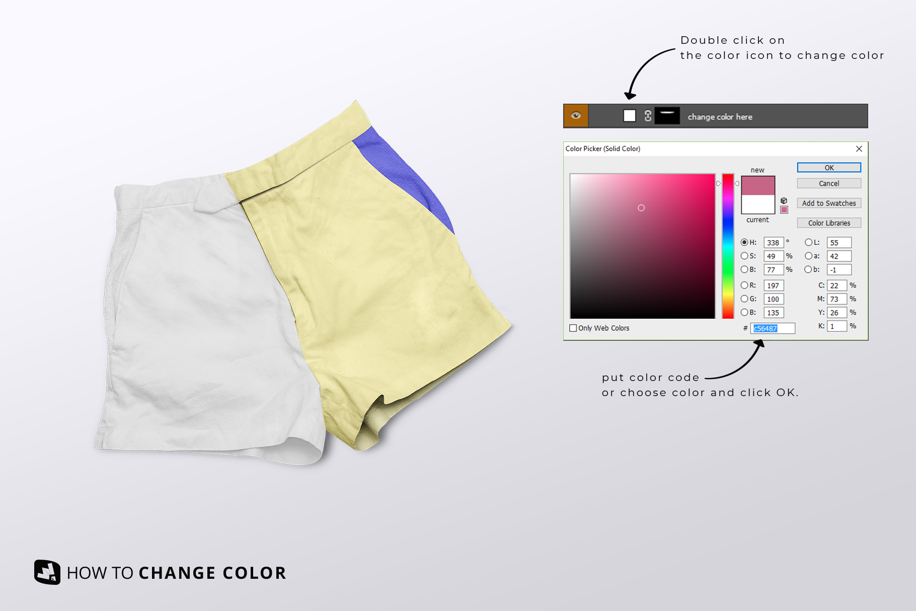 change color of the female cotton hot pants mockup