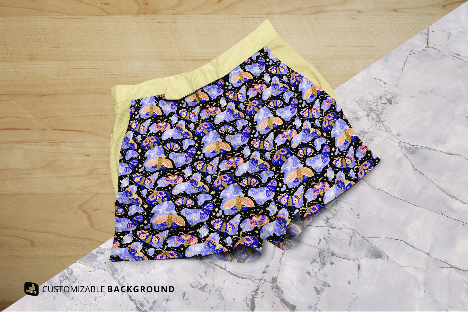 background options of the female cotton hot pants mockup