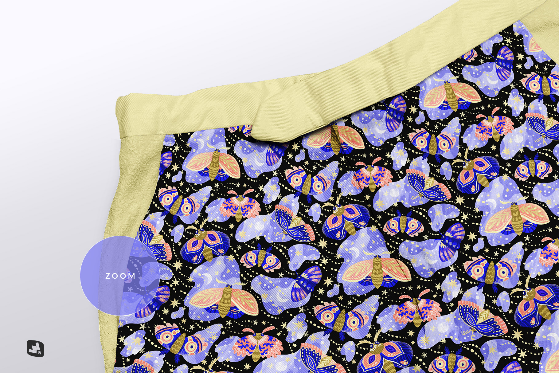 zoomed in image of the female cotton hot pants mockup