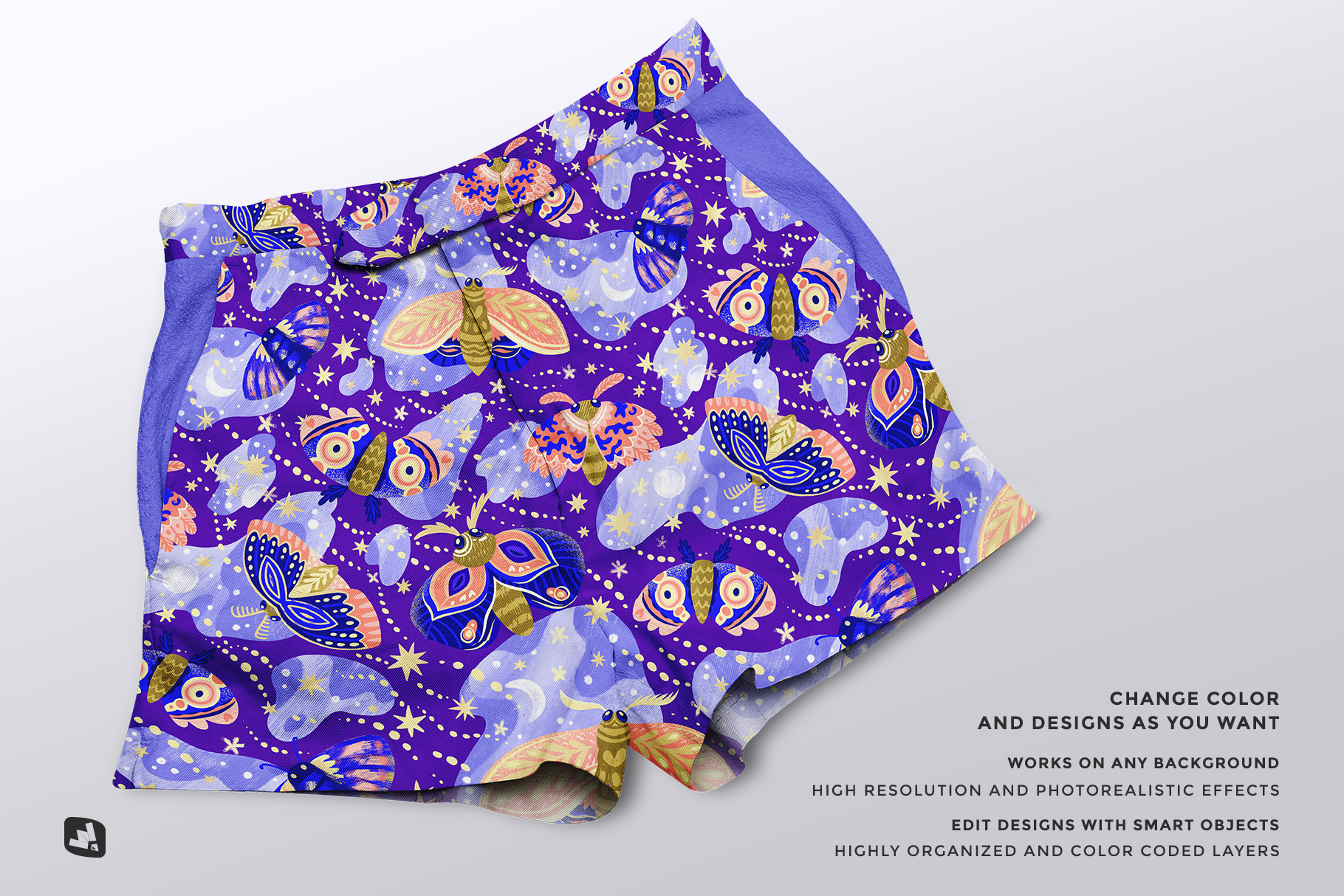 features of the female cotton hot pants mockup