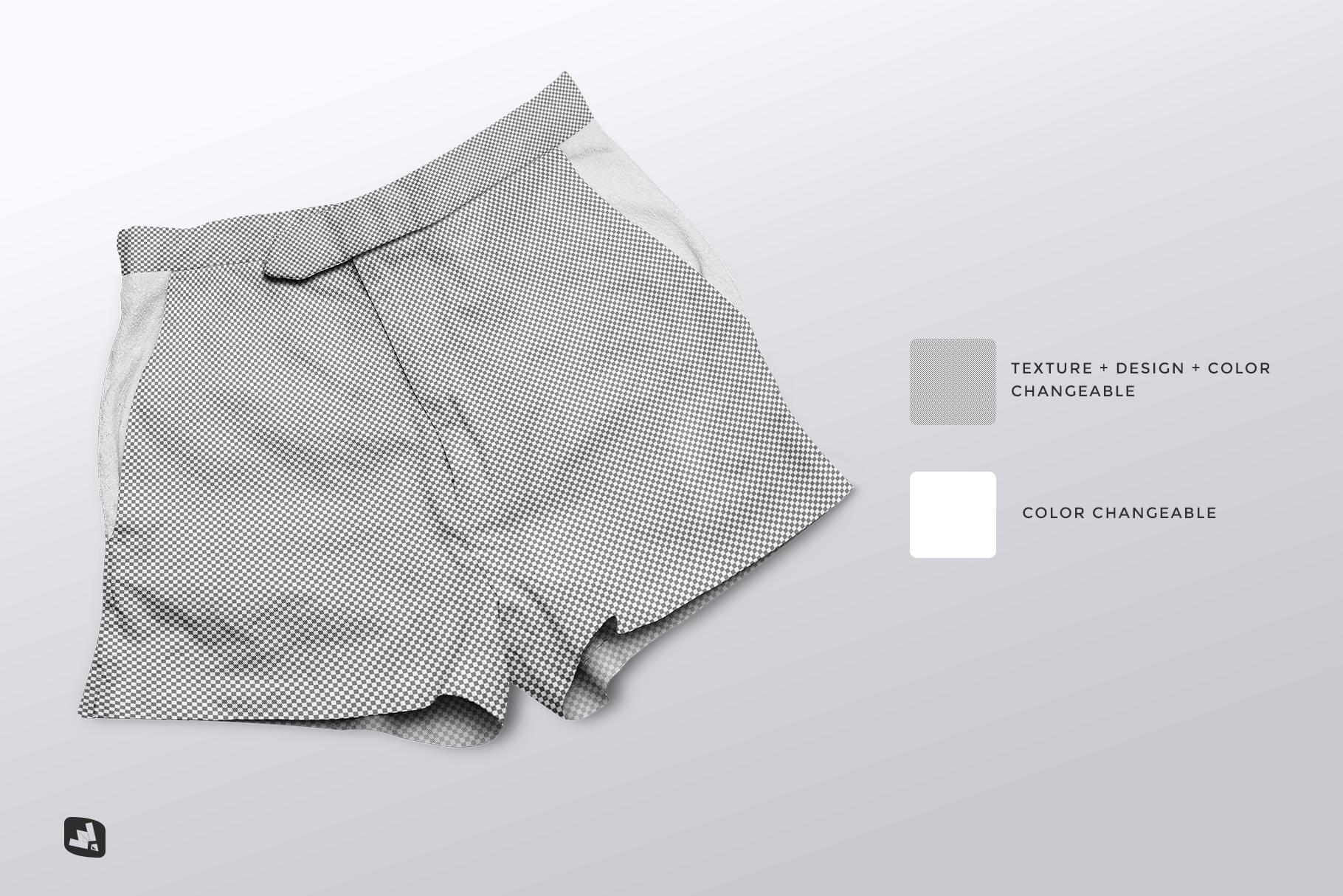editability of the female cotton hot pants mockup