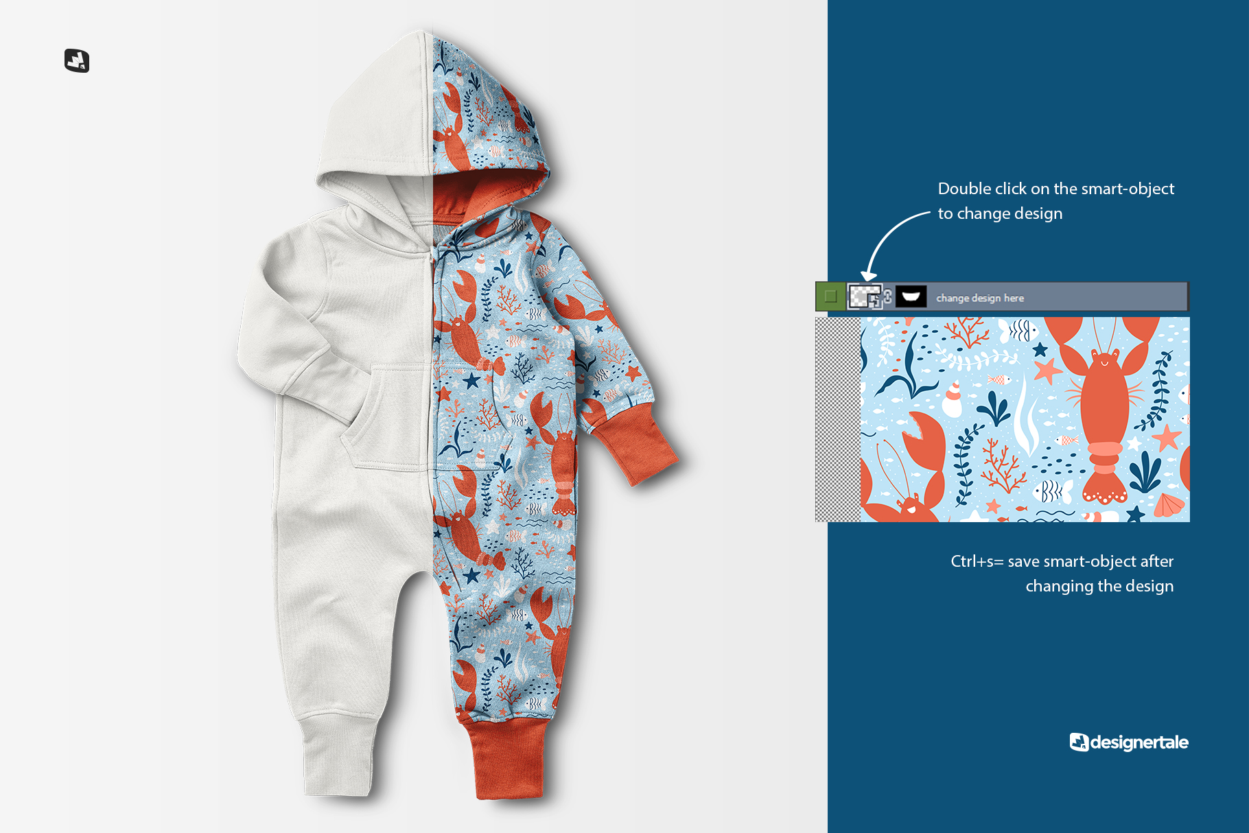 change design of the baby hoodie jumpsuit mockup