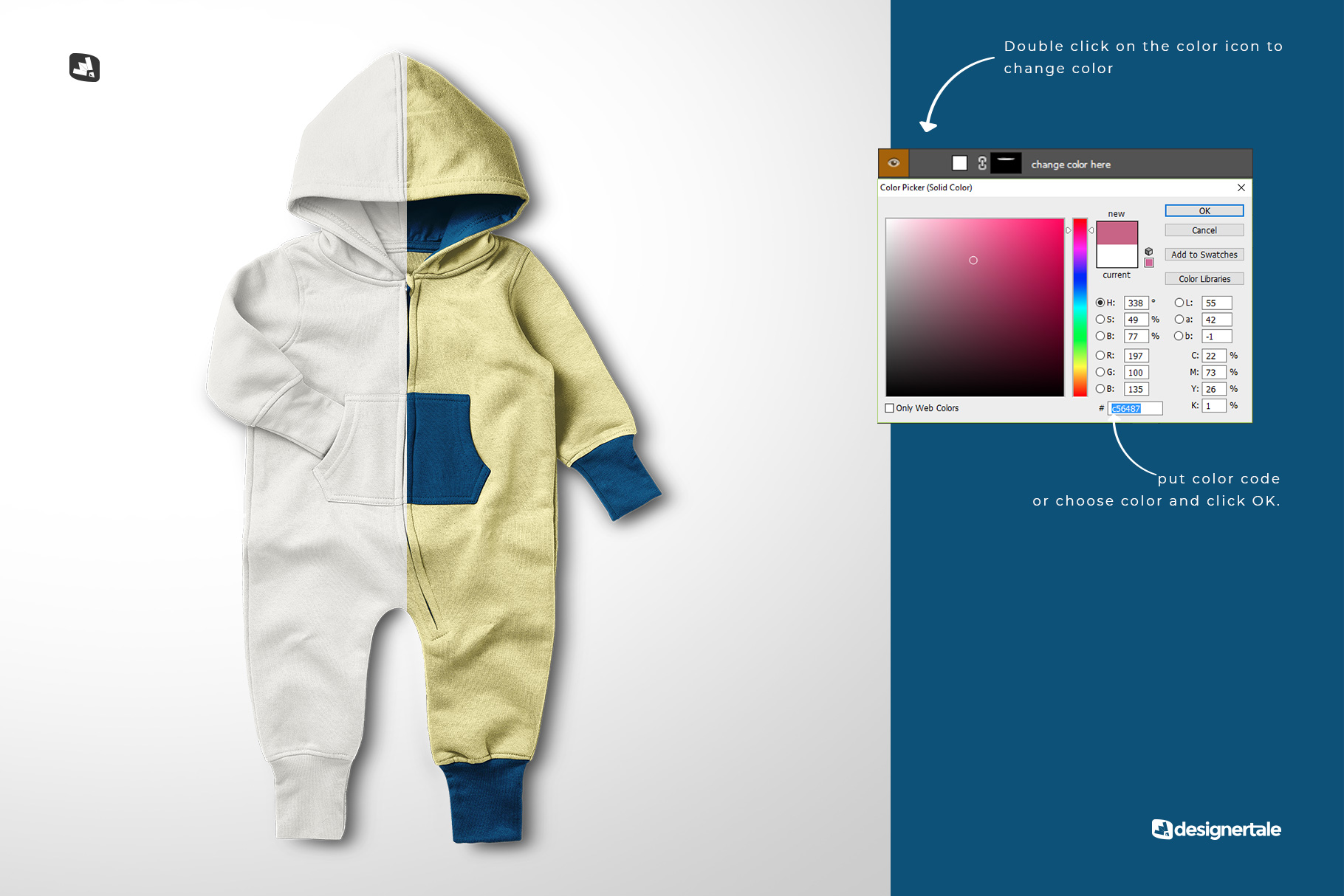 change color of the baby hoodie jumpsuit mockup